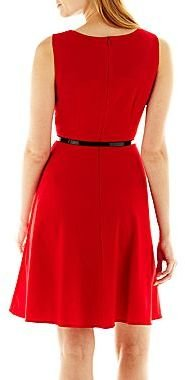 JCPenney Alyx® Pleated Fit-and-Flare Dress