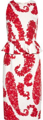 Giambattista Valli Printed cotton-blend brocade peplum dress