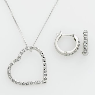 Mystique Diamond Platinum Over Silver Diamond Accent Heart Pendant & Hoop Earring Set
