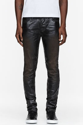 Diesel Black Gold Black Wet Look Coated Jeans