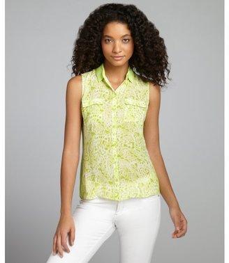 Tahari lime animal printed button down sleeveless 'Bella' blouse