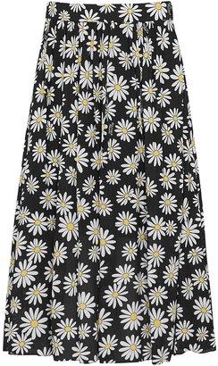 Boutique Moschino Black Daisy-print Skirt