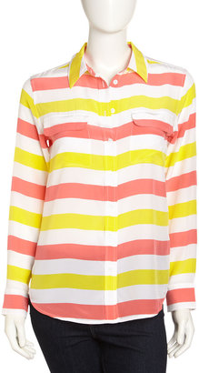 Equipment Signature Striped Long-Sleeve Silk Blouse, Blazing Yellow/Coral