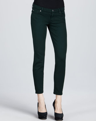 7 For All Mankind Skinny Double-Knit Jeans, Deep Green