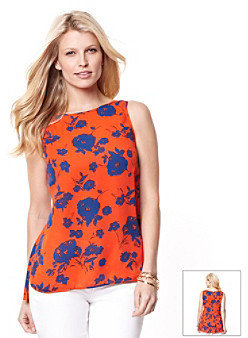 Nautica Pleat Back Floral Print Blouse