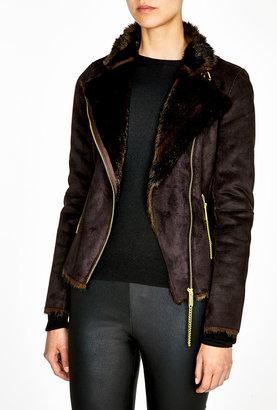 MICHAEL Michael Kors Faux Mink Shearling Moto Jacket
