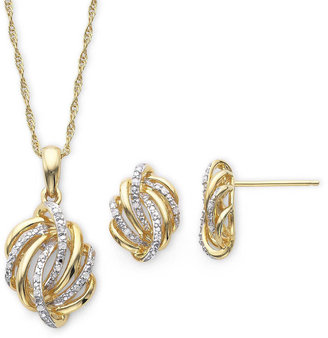 FINE JEWELRY 1/10 CT. T.W. Diamond Love Knot Pendant Necklace & Earrings Boxed Set $174.98 thestylecure.com