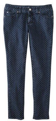 Merona Women's Skinny Rolled Ankle Pant (Modern Fit)- Mint Polka Dots