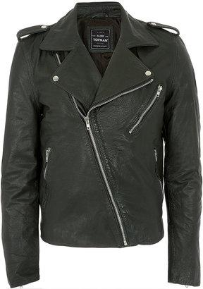 Topman Bottle Green Leather Biker Jacket
