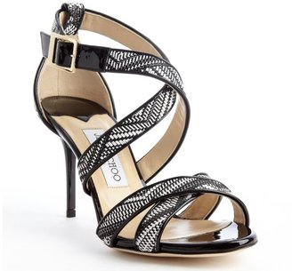 Jimmy Choo black and white woven 'Louise' strappy sandal