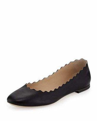 Chloé Scalloped Calfskin Ballerina Flat, Black