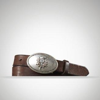 Ralph Lauren Leather Plaque Skinny Belt