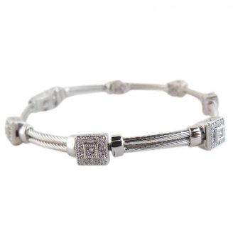 Charriol excellent (EX 18K White Gold .43tcw Flamme Blanche Square Pave Diamond Station Bracelet