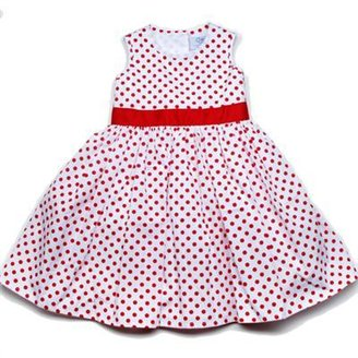Baby CZ Dress with Ribbon Belt in Sarah Dot Print