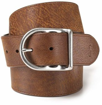 Polo Ralph Lauren Distressed Leather Belt with Dull Nickle Centerbar Buckle