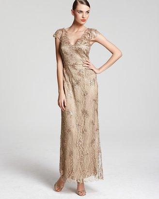 Kay Unger Gown - V Neck Sequin Netted