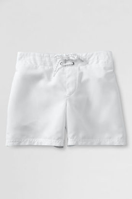 Lands' End Little Girls' Solid Woven Swim Shorts