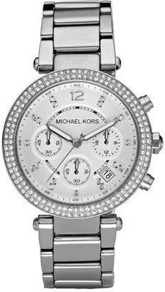 Michael Kors Parker Glitz Watch, Silver Color $275 thestylecure.com