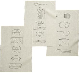 Crate & Barrel Set of 3 Gourmet Blueprints Dishtowels