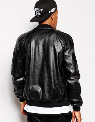 Asos Faux Leather Bomber Jacket