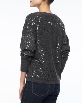 Neiman Marcus Sequined Cashmere Pullover Sweater