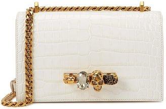 Alexander McQueen Jewelled Satchel Crocodile-effect Leather Shoulder Bag