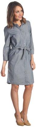 Calvin Klein Jeans Fitted Micro Stripe Shirt Dress (Indigo) - Apparel
