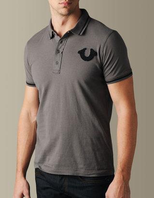 True Religion Mens Hand Picked Color Trim Logo Polo - (dark Grey/Black)