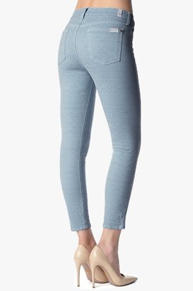 """7 For All Mankind The Cropped Skinny In Steel Blue Jacquard (26"""" Inseam)"""