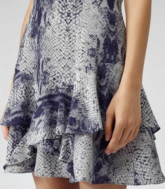 Reiss Roe Snake FIT AND FLARE PRINTED DRESS