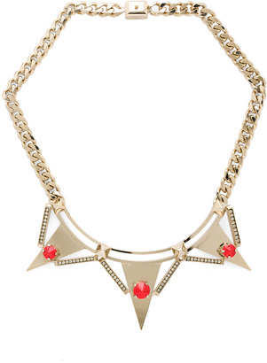 Iosselliani Fused Stones Antique Brass Spike Necklace in Red