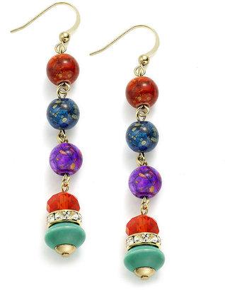 Style&Co. Earrings, Gold-Tone Multi-Color Linear Bead Drop Earrings