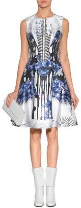 Prabal Gurung Blue-Multi Printed Silk-Cotton Dress