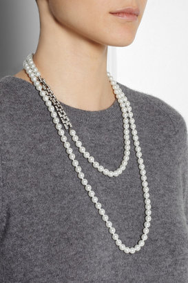 Kenneth Jay Lane Crystal and faux pearl necklace