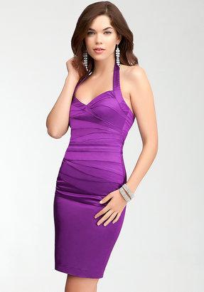 Bebe Seam Halter Satin Dress