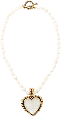 Stephen Dweck Pearl and Carved Rock Crystal Heart Pendant Necklace