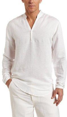 Cubavera Men's Long Sleeve Linen Rayon Texture Stripe Popover Shirt