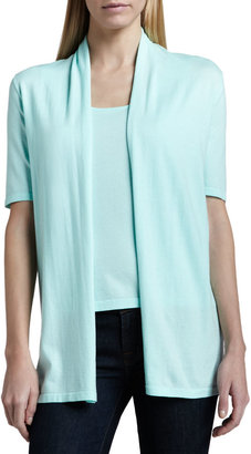 Neiman Marcus Half-Sleeve Draped Cardigan