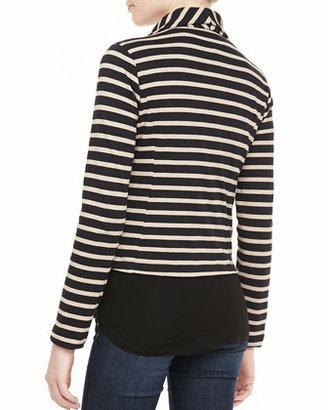 Splendid Vista Striped Asymmetric-Zip Jacket