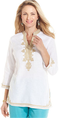 Charter Club Top, Three-Quarter-Sleeve Linen Tunic