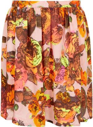 Topshop Floral Printed Flippy Skirt