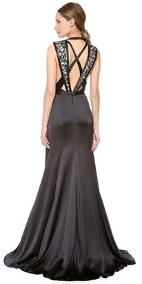 J. Mendel Crew Neck Sleeveless Gown