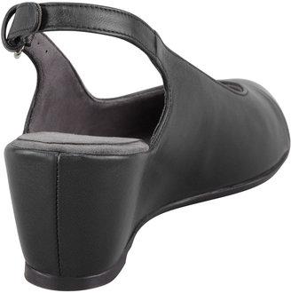Stuart Weitzman Tipin Cap-Toe Slingback Wedge, Black