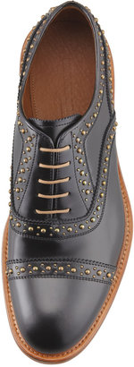 Bergdorf Goodman Gold Studded Lace-Up, Black