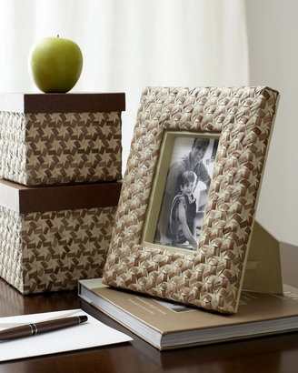 Horchow Star-Weave Desk Boxes & Picture Frame