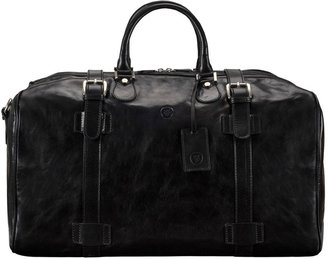 Maxwell Scott Bags Italian Crafted Black Leather Travell Holdall For Men