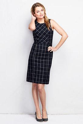 Lands' End Women's Sleeveless Pattern Woven Wear To Work Sheath Dress