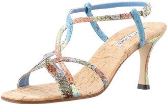 Manolo Blahnik Martina Strappy Snakeskin Sandal, Blue