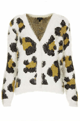 Topshop Knitted animal fluffy cardi
