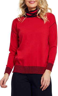 Joan Vass Striped Mock-Neck Cotton Sweater